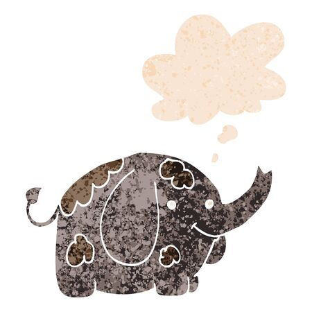 cartoon elephant with thought bubble in grunge distressed retro textured style