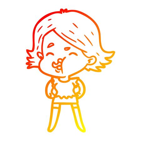 warm gradient line drawing of a cartoon girl pulling face  イラスト・ベクター素材