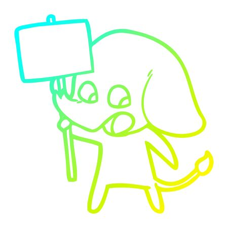 cold gradient line drawing of a cute cartoon elephant holding placard