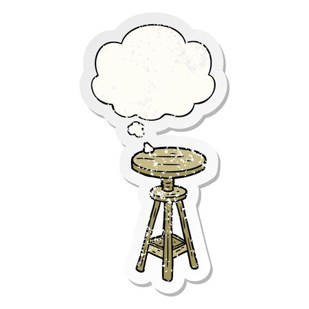 cartoon artist stool with thought bubble as a distressed worn sticker 스톡 콘텐츠 - 129644013