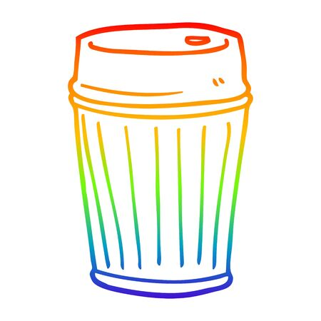 rainbow gradient line drawing of a cartoon coffee cup