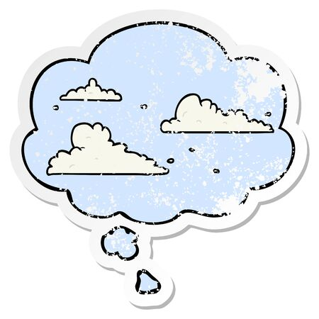 cartoon clouds with thought bubble as a distressed worn sticker