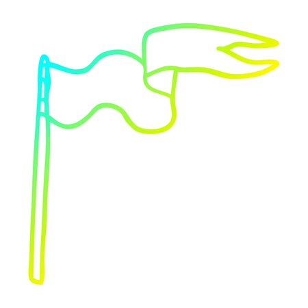cold gradient line drawing of a cartoon flag Illustration