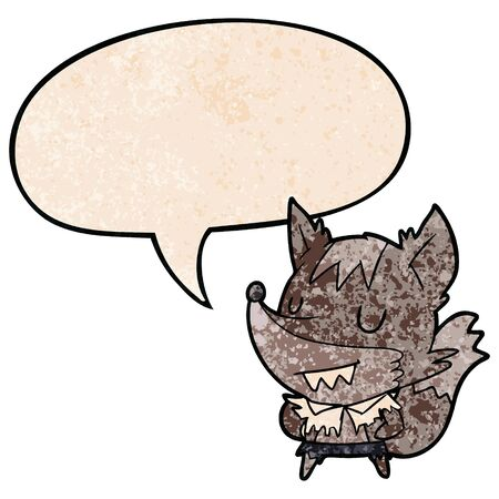 cartoon halloween werewolf with speech bubble in retro texture style