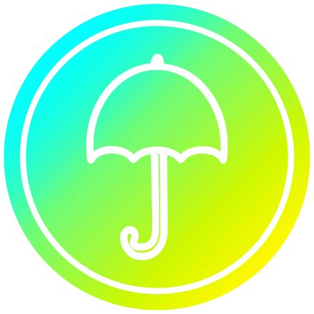 open umbrella circular icon with cool gradient finish 向量圖像