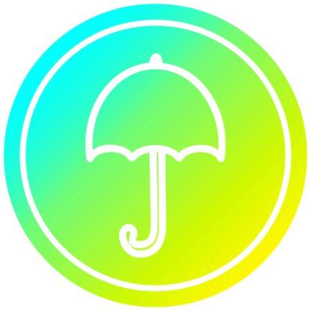 open umbrella circular icon with cool gradient finish Illustration