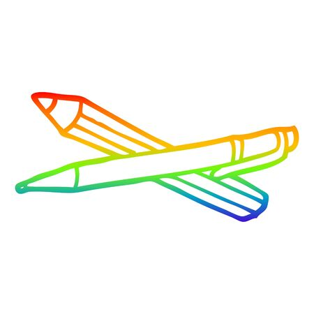 rainbow gradient line drawing of a cartoon pen