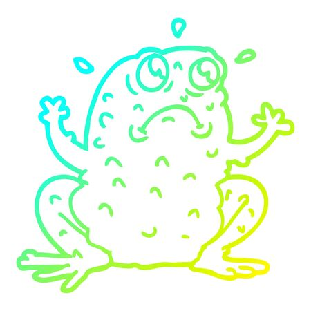 cold gradient line drawing of a cartoon nervous toad