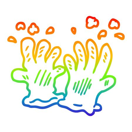 rainbow gradient line drawing of a cartoon garden gloves