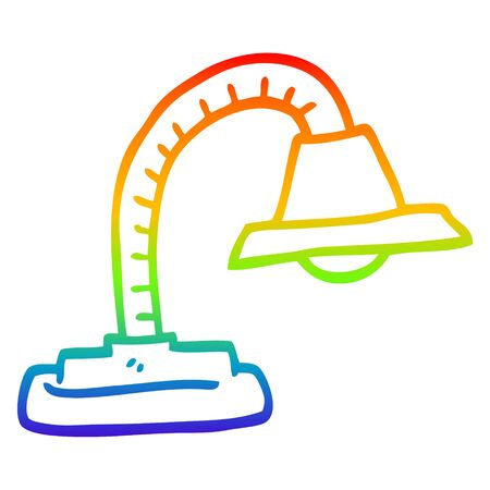 rainbow gradient line drawing of a cartoon adjustable lamp