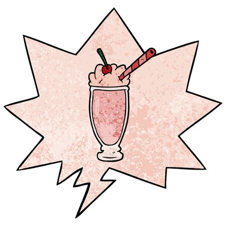cartoon milkshake with speech bubble in retro texture style 向量圖像