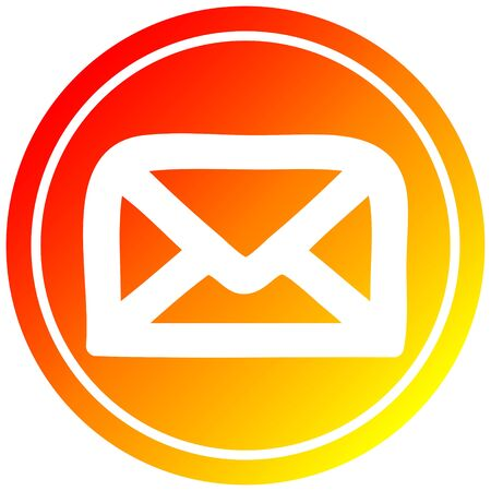 envelope letter circular icon with warm gradient finish Illustration