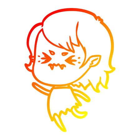 warm gradient line drawing of a annoyed cartoon vampire girl 矢量图像