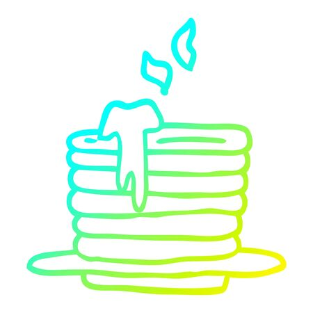 cold gradient line drawing of a cartoon stack of pancakes