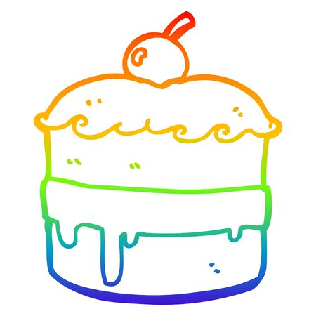 rainbow gradient line drawing of a cartoon cake