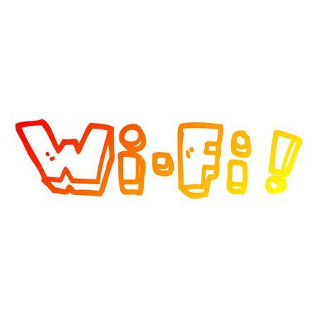 warm gradient line drawing of a cartoon wording wifi