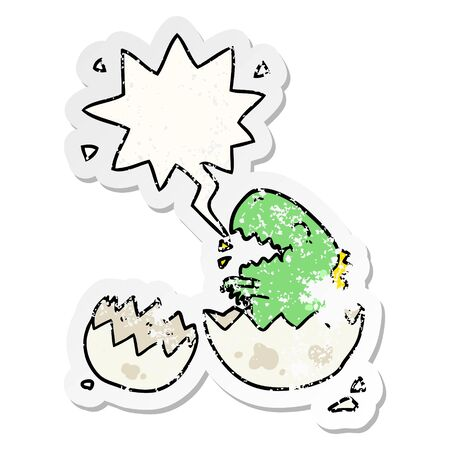 cartoon dinosaur hatching from egg with speech bubble distressed distressed old sticker