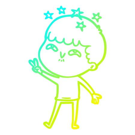 cold gradient line drawing of a cartoon amazed boy