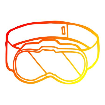 warm gradient line drawing of a cartoon goggles Illustration