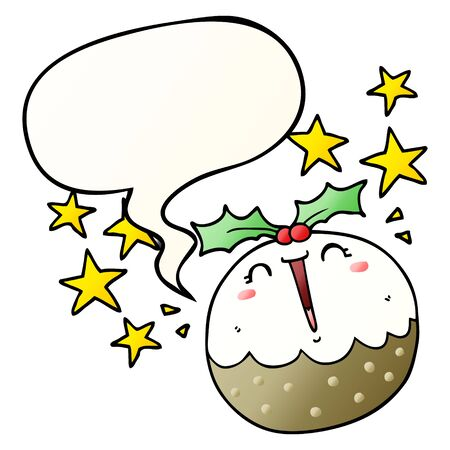 cute cartoon happy christmas pudding with speech bubble in smooth gradient style