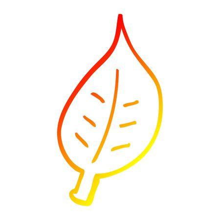warm gradient line drawing of a cartoon autumnal leaf