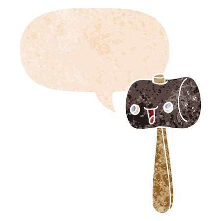 cartoon mallet with speech bubble in grunge distressed retro textured style