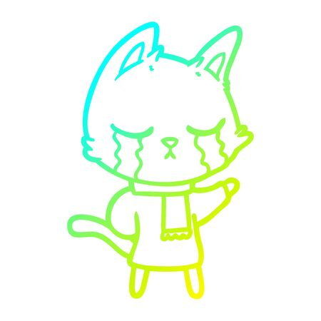 cold gradient line drawing of a crying cartoon cat wearing winter clothes Illustration