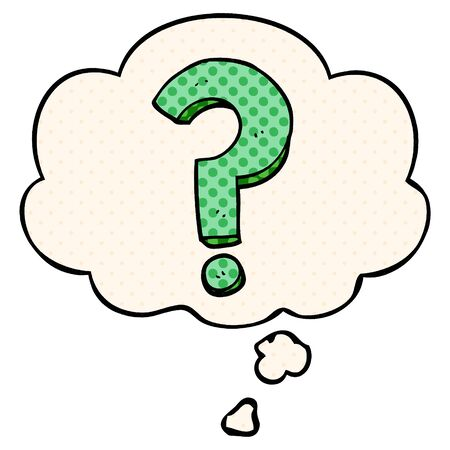 cartoon question mark with thought bubble in comic book style