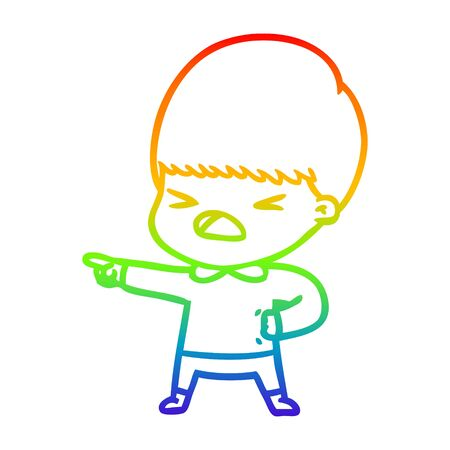rainbow gradient line drawing of a cartoon stressed man