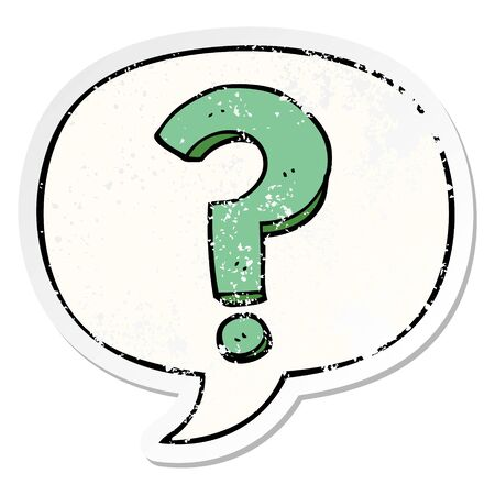 cartoon question mark with speech bubble distressed distressed old sticker