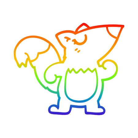rainbow gradient line drawing of a cartoon confident squirrel
