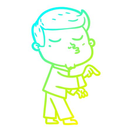 cold gradient line drawing of a cartoon model guy pouting