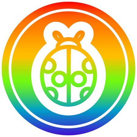 cute ladybug icon with rainbow gradient finish
