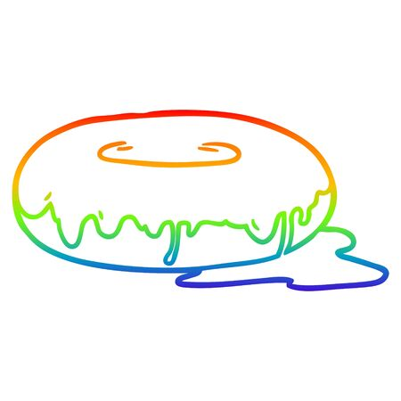 rainbow gradient line drawing of a Cartoon donut Иллюстрация