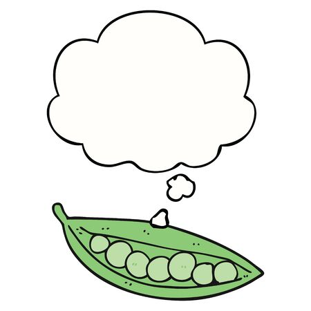 cartoon peas in pod with thought bubble