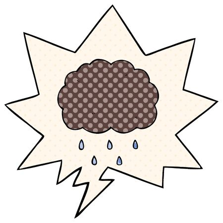 cartoon cloud raining with speech bubble in comic book style