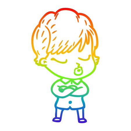rainbow gradient line drawing of a cartoon woman with eyes shut  イラスト・ベクター素材