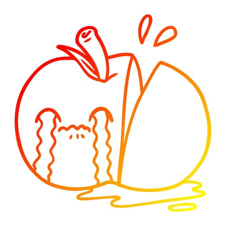 warm gradient line drawing of a cartoon sad sliced apple