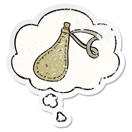 cartoon water sack with thought bubble as a distressed worn sticker Illustration