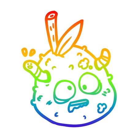 rainbow gradient line drawing of a rotting old pear with worm