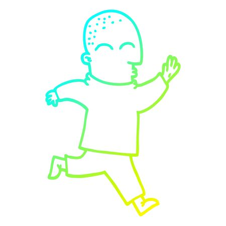 cold gradient line drawing of a cartoon man running