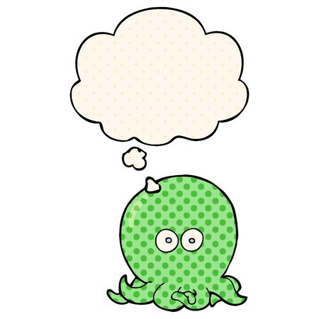 cartoon octopus with thought bubble in comic book style
