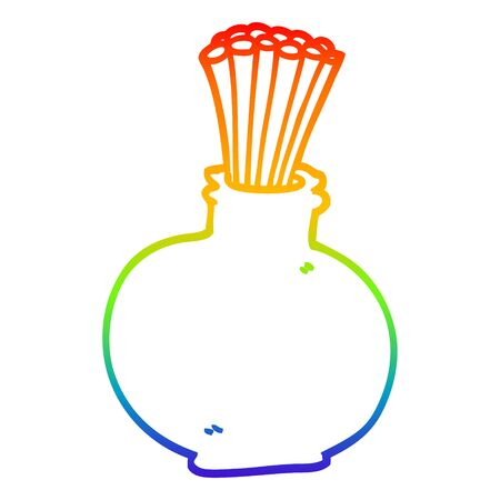 rainbow gradient line drawing of a cartoon reeds in vase