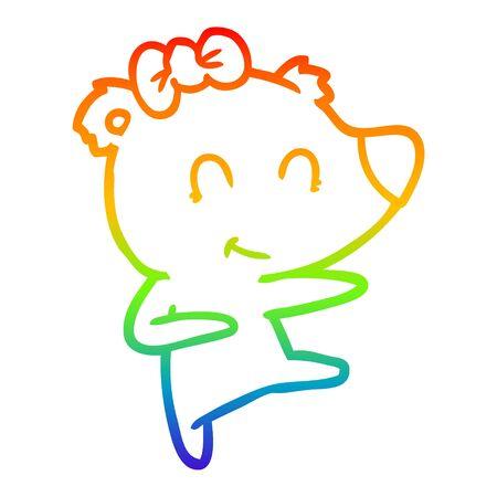 rainbow gradient line drawing of a female bear cartoon