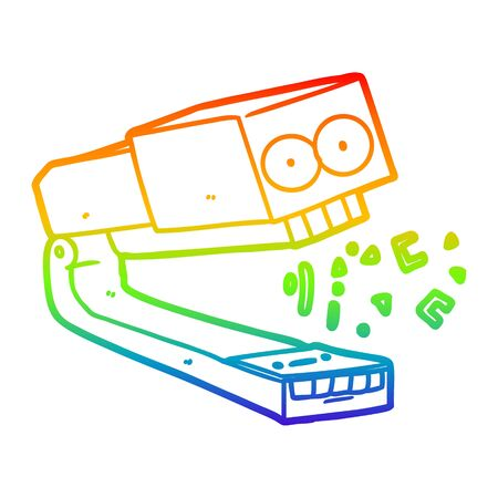 rainbow gradient line drawing of a crazy cartoon stapler  イラスト・ベクター素材
