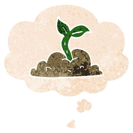 cartoon growing seedling with thought bubble in grunge distressed retro textured style
