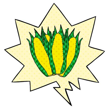 cartoon organic corn with speech bubble in comic book style Ilustração