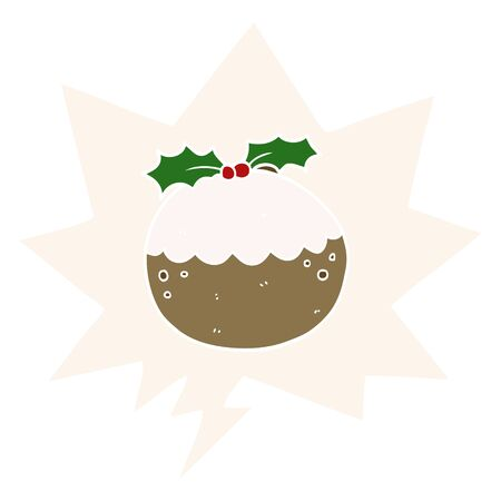 cartoon christmas pudding with speech bubble in retro style