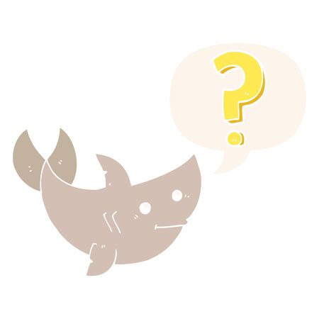 cartoon shark asking question with speech bubble in retro style