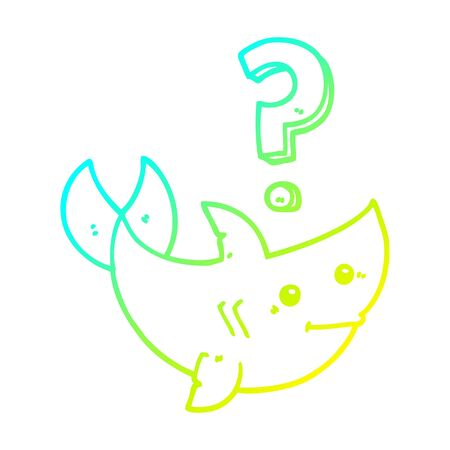 cold gradient line drawing of a cartoon shark asking question Ilustracja